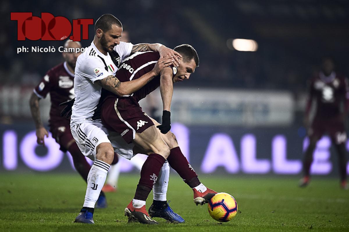 Leonardo Bonucci e Andrea Belotti in Juventus-Torino 0-1, serie A 2018/2019