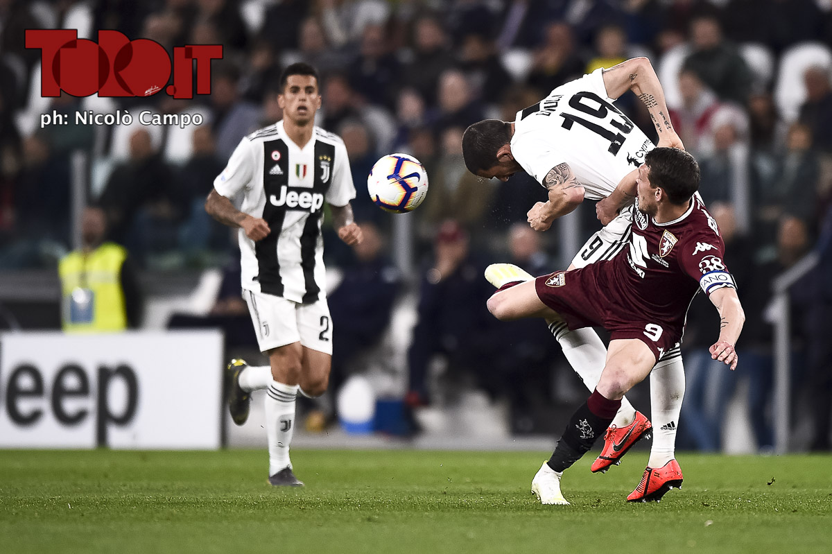 Andrea Belotti e Leoanardo Bonucci in Juventus-Torino 1-1