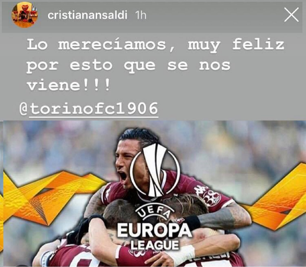 Ansaldi, post Instagram