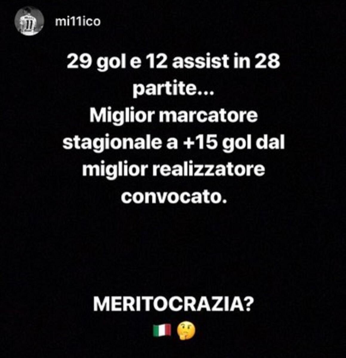 Millico su Instagram