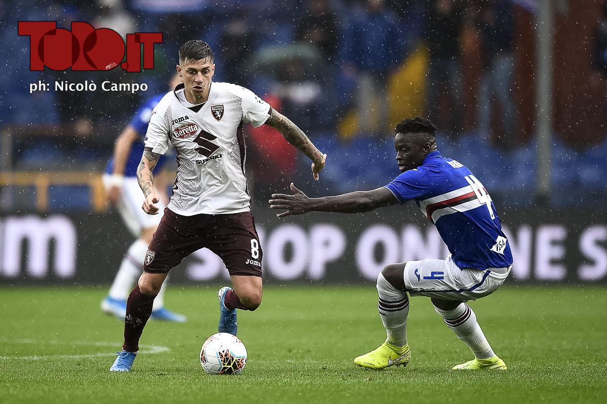 Daniele Baselli supera Rolando Vieira in Sampdoria-Torino 1-0