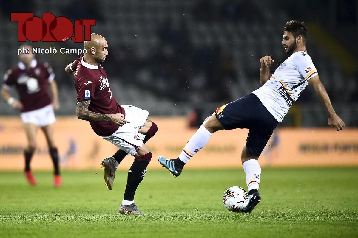 Simone Zaza e Panagiotis Tachtsidis in Torino-Lecce 1-2, serie A 2019/2020