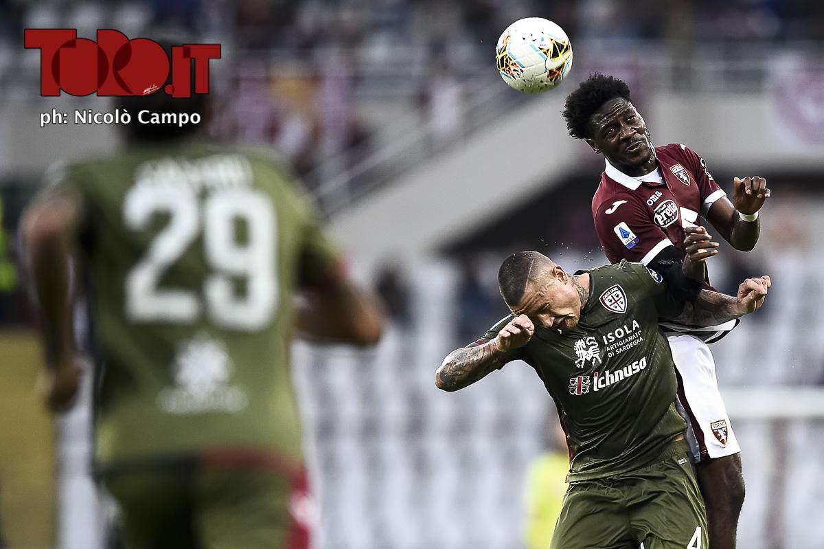Ola Aina e Radja Nainggolan In Torino-Cagliari 1-1, serie A 2019/2020