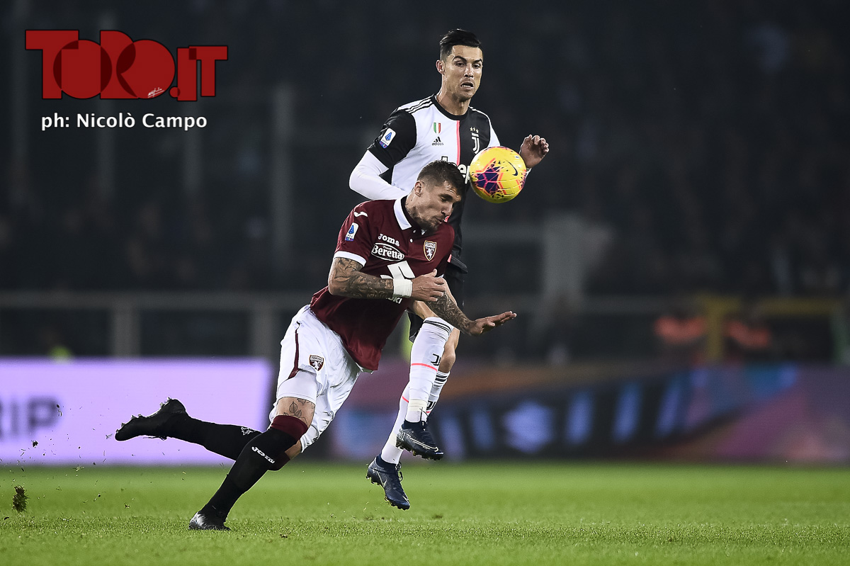 Lyanco e Cristiano Ronaldo in Torino-Juventus 0-1