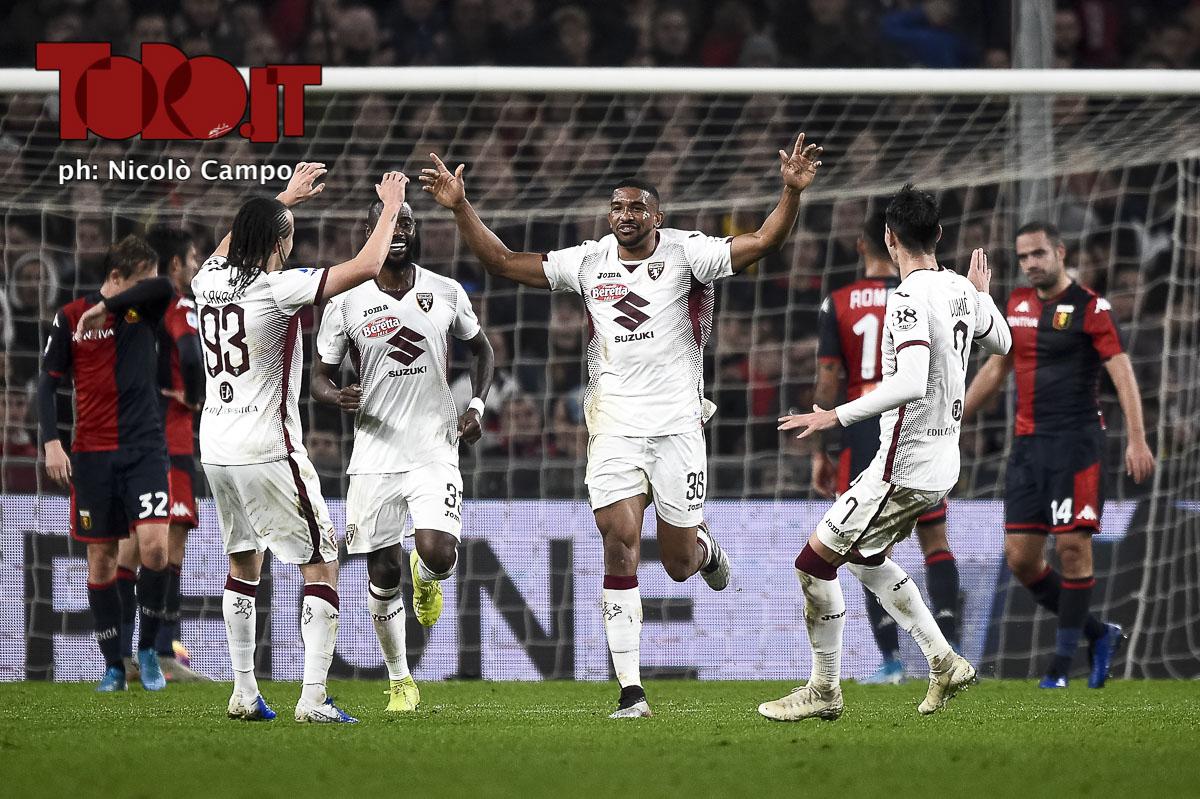 Bremer esulta dopo il gol in Genoa-Torino 0-1
