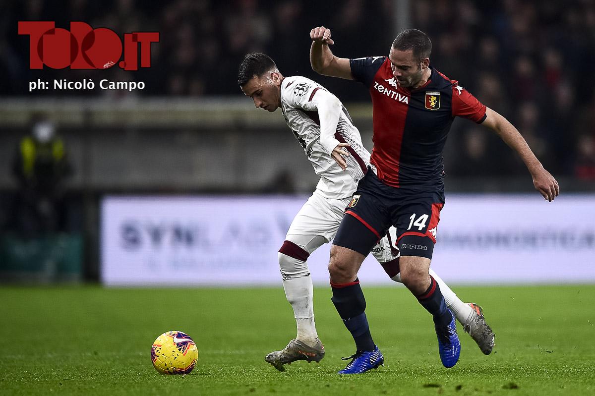 Davide Biraschi e Alejandro Berenguer in Genoa-Torino 0-1, serie A 2019/2020