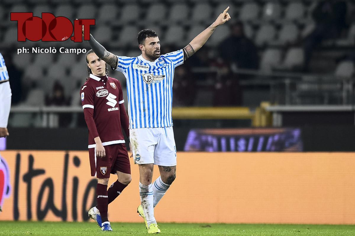 Andrea Petagna esulta in Torino-Spal 1-2
