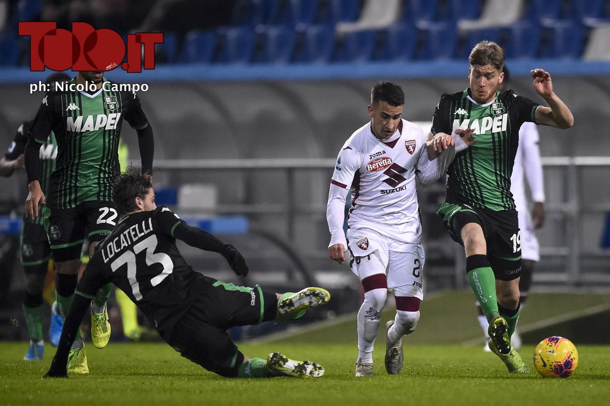 Alejandro Berenguer, Manuel Locatelli e Filippo Romagna in Sassuolo-Torino 2-1