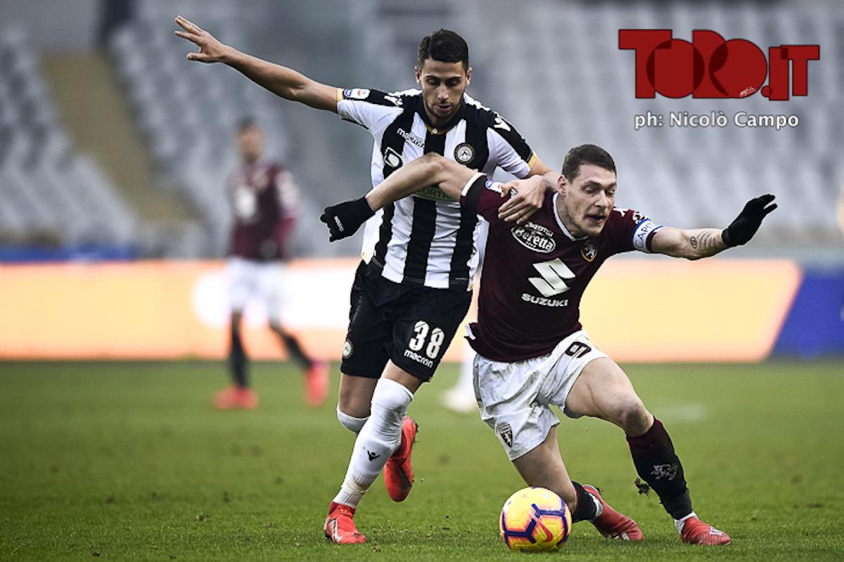 Andrea Belotti e Rolando Mandragora in Torino-Udinese 1-0 Serie A 2018/2019