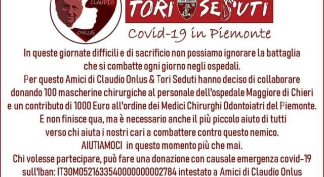 """Dal Toro Club """"Tori Seduti"""" mascherine e donazioni per aiutare nella lotta al coronavirus"""