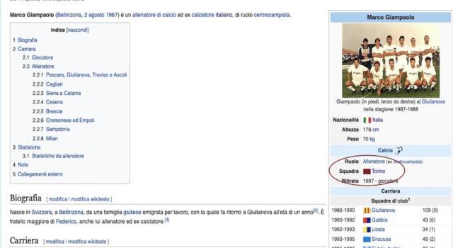 Per Wikipedia Giampaolo è già il nuovo tecnico del Toro