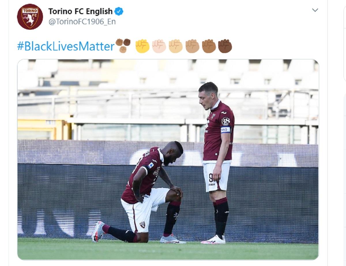 Nkoulou inginocchiato, il tweet del Torino
