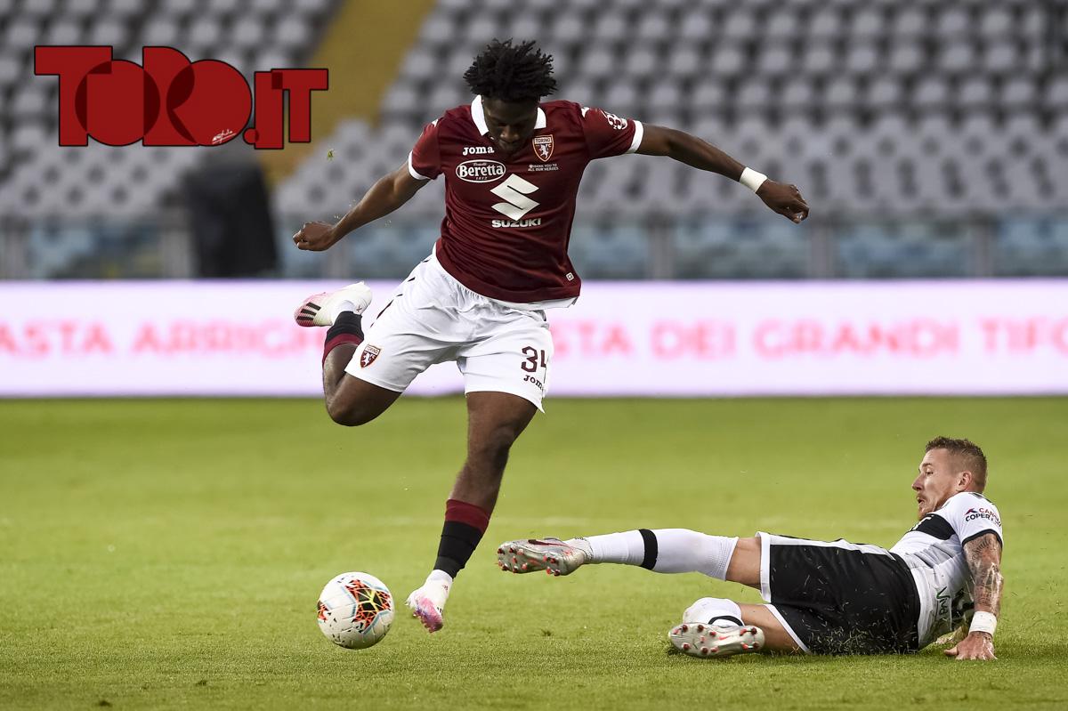 Ola Aina e Jurai Kucka in Torino-Parma 1-1, serie A 2019/2020