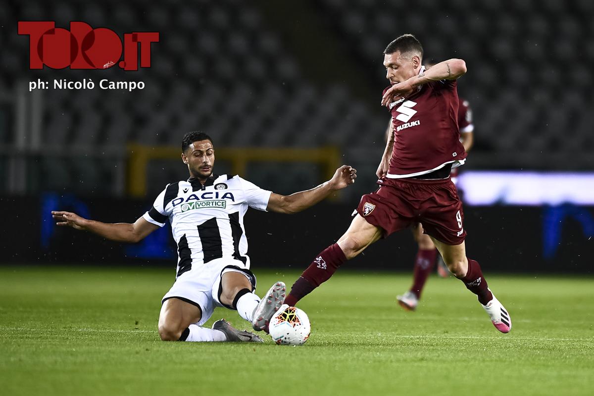 Andrea Belotti e Rolando Mandragora in Torino-Udinese 1-0, serie A 2019/2020