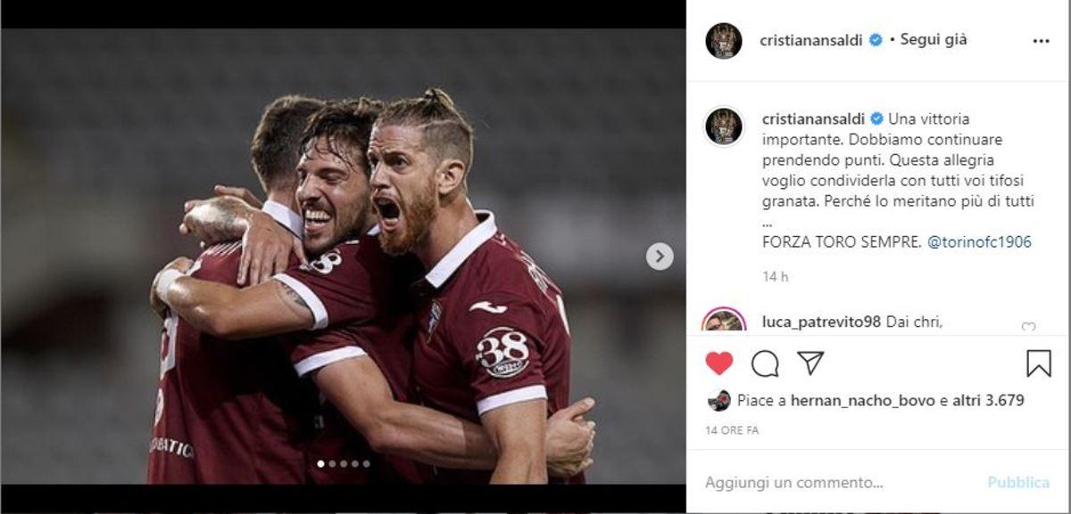 Ansaldi su Instagram