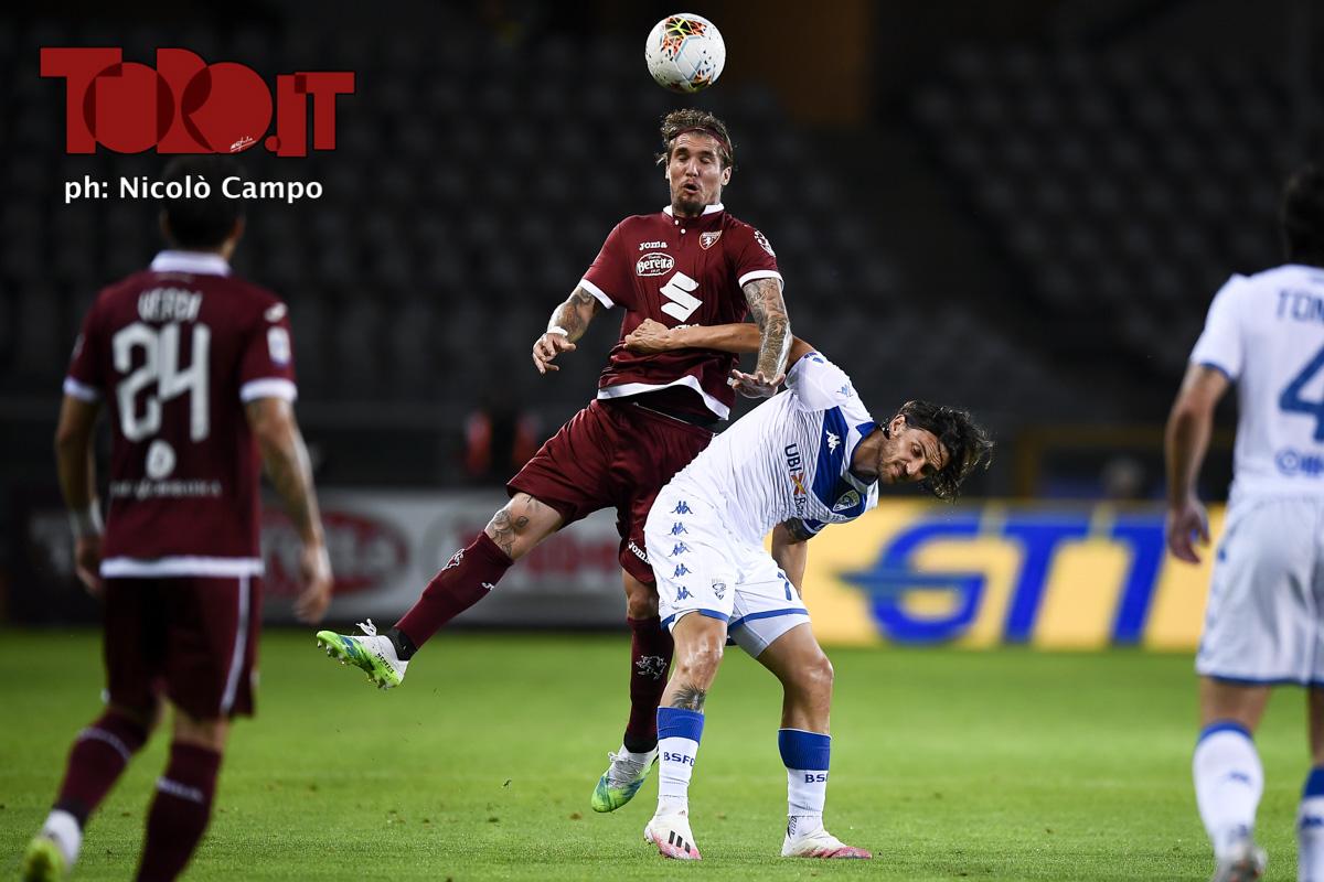 Lyanco e Ernesto Torregrossa in Torino-Brescia 3-1