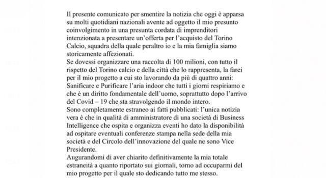 """Ferrero smentisce: """"Non faccio parte della cordata che vuole il Torino"""""""