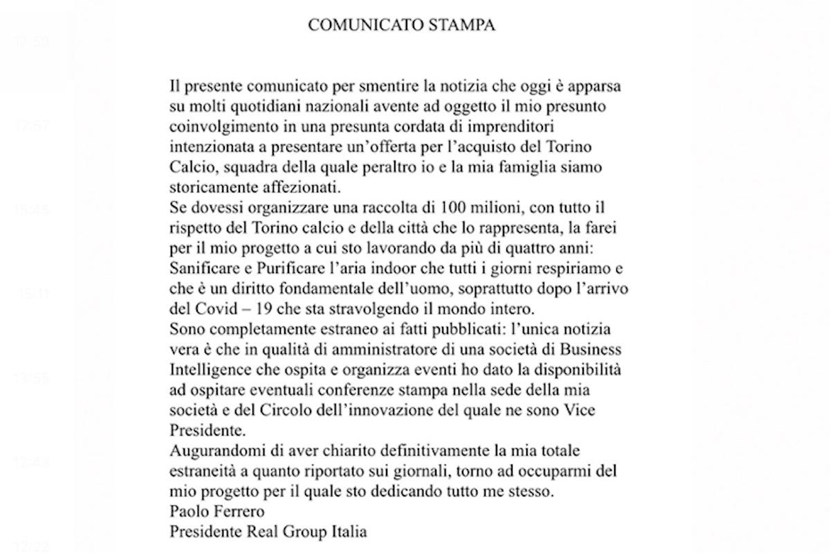 Comunicato stampa Paolo Ferrero