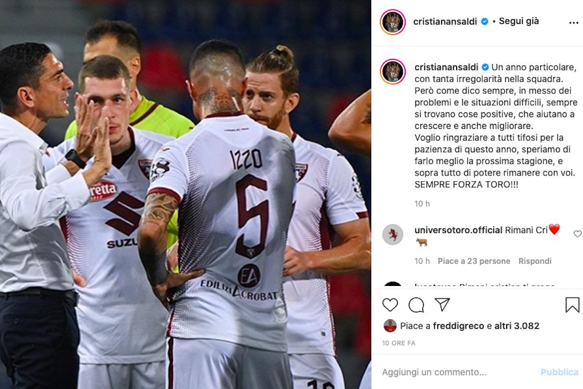 Il post di Ansaldi su Instagram