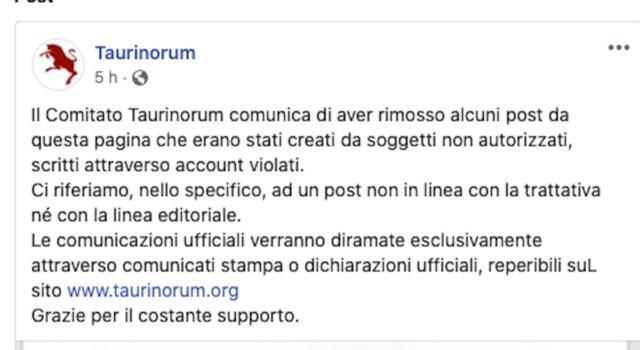 """Taurinorum: """"Violato l'account Facebook, post non in linea con la trattativa"""""""