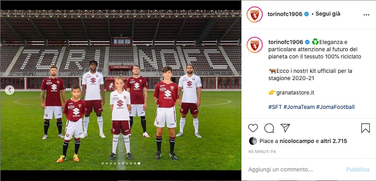 Post Instagram, maglie Torino 2020/2021