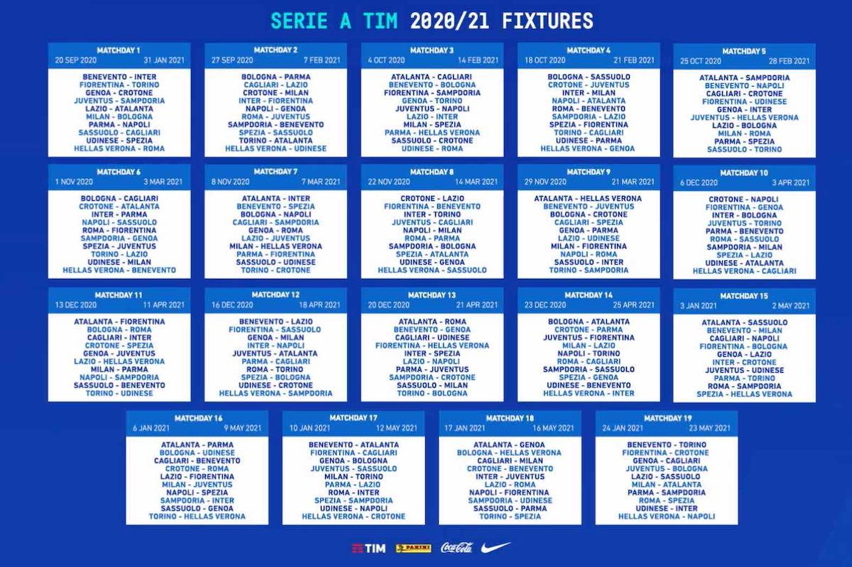 Calendario Serie A 2020 2021: i criteri per la composizione