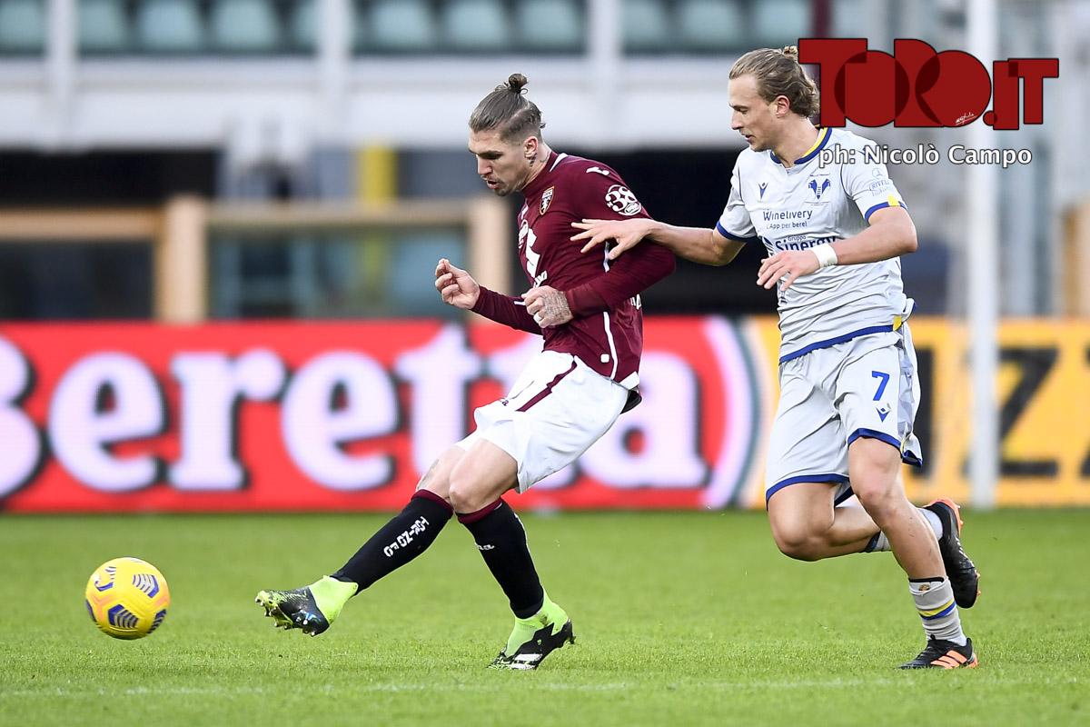 Lyanco e Antonin Barak in Torino-Verona 1-1, serie A 2020/2021