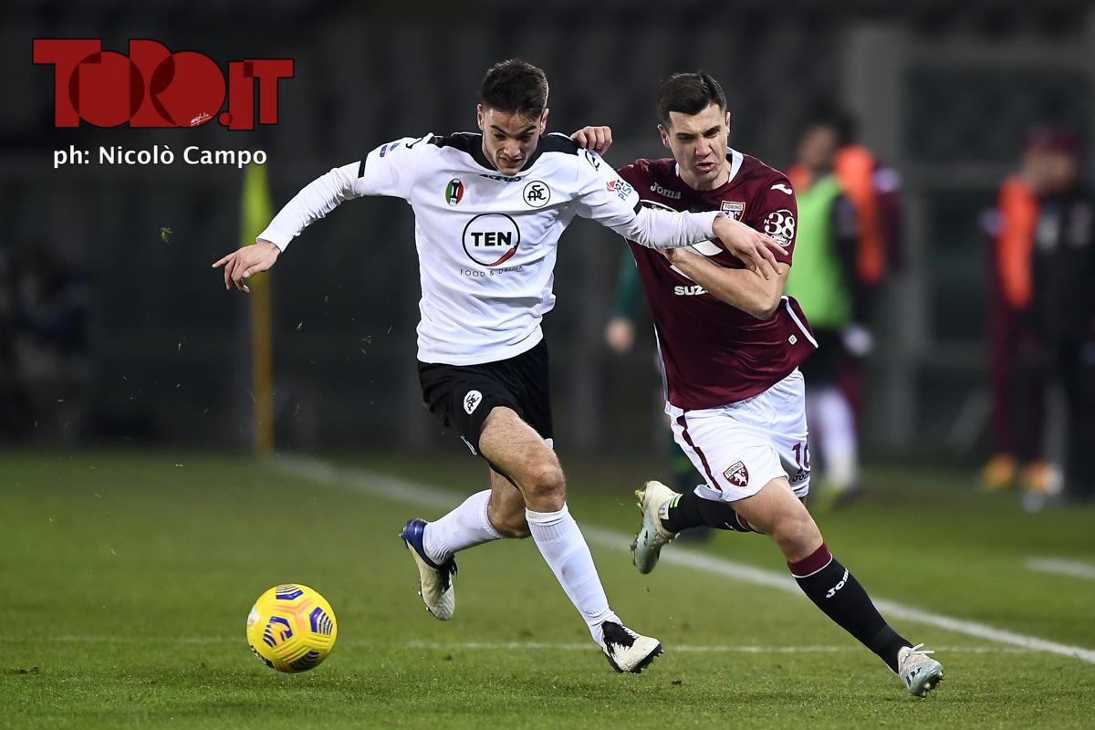 Giulio Maggiore e Amer Gojak in Torino-Spezia 0-0, serie A 2020/2021