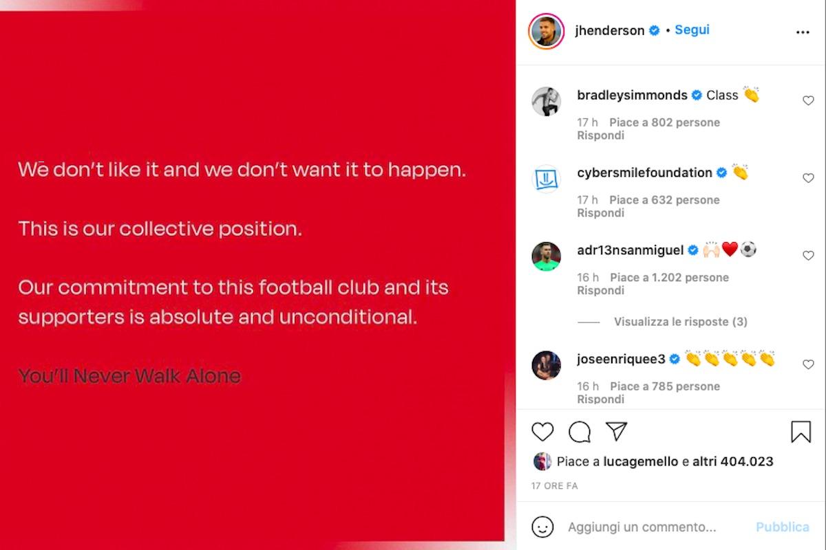 Comunicato dei calciatori del Liverpool contro la Superlega
