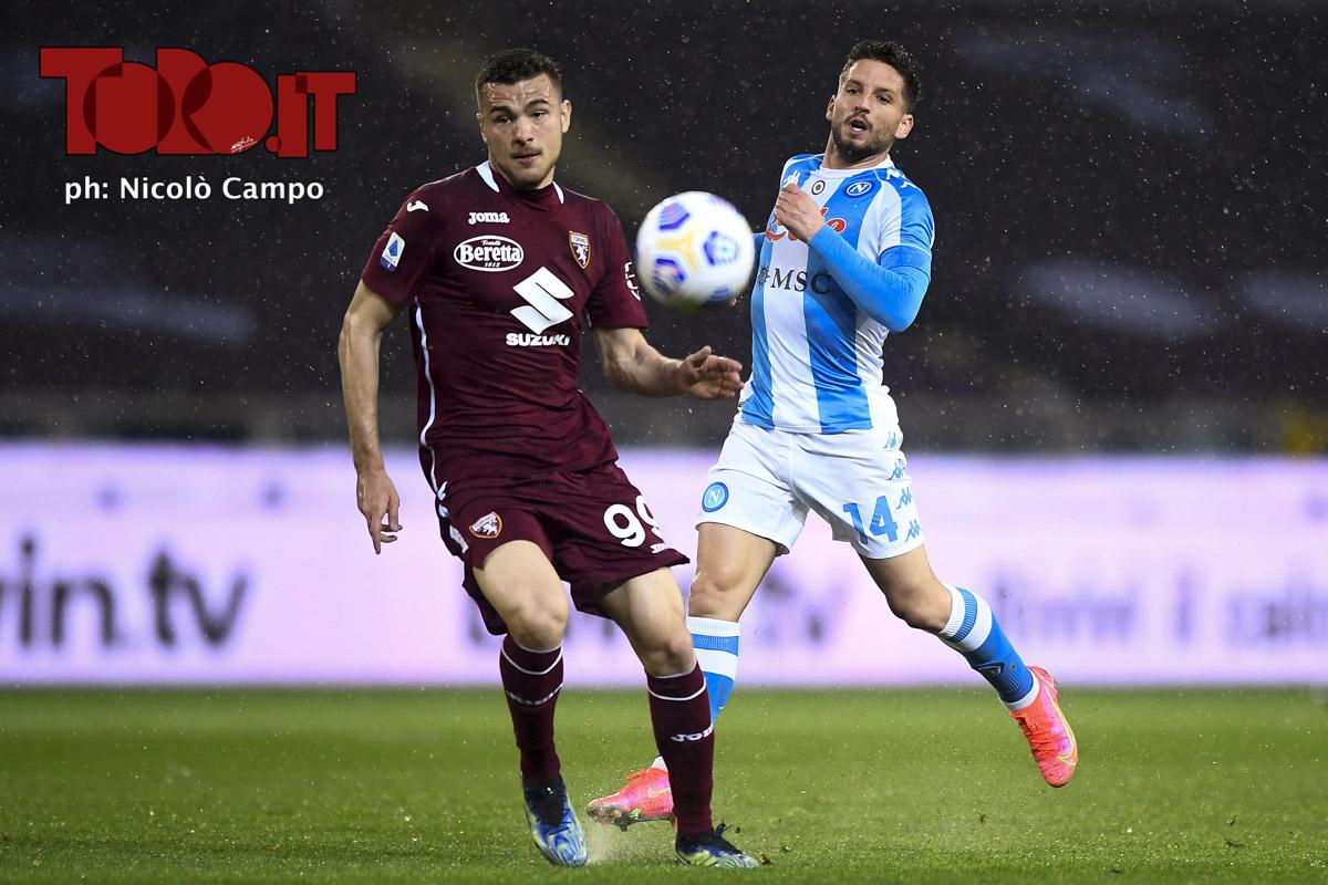 Dries Mertens e Alessandro Buongiorno in Torino-Napoli 0-2, serie A 2020/2021