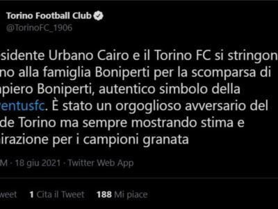 """È morto Boniperti. Il Toro: """"È stato un orgoglioso avversario del Grande Torino"""""""