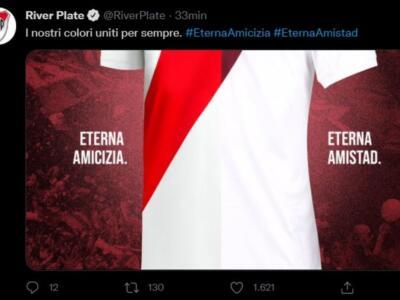 """Il River Plate ringrazia il Toro per l'omaggio: """"I nostri colori uniti per sempre"""""""