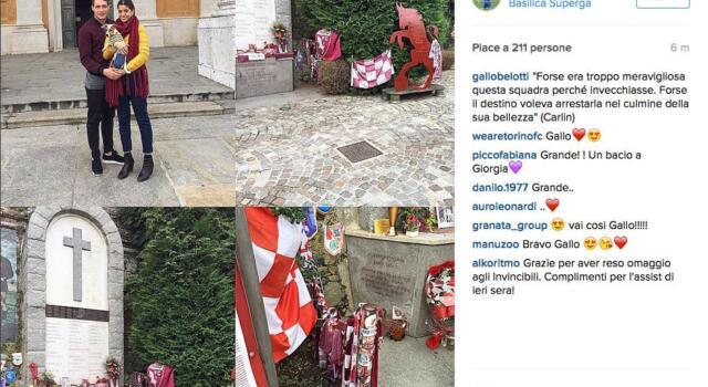 Belotti, visita a Superga per il Grande Torino